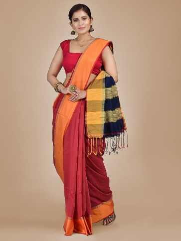 Coral Orange Blended Cotton Hand woven saree with Ghicha pallu