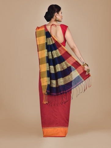 Coral Orange Blended Cotton Hand woven saree with Ghicha pallu 1