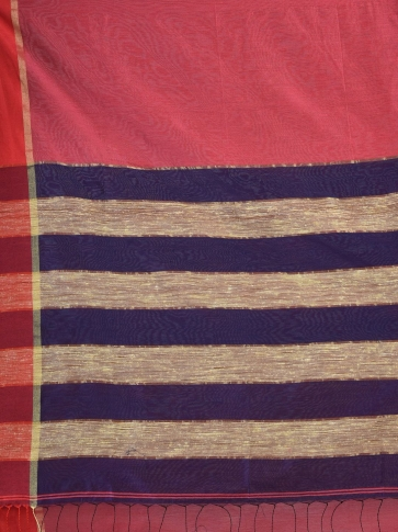 Coral Orange Blended Cotton Hand woven saree with Ghicha pallu 2