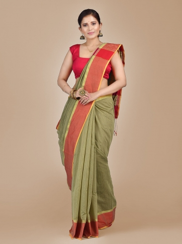 Light Olive Green Blended Cotton Hand woven saree with Ghicha pallu
