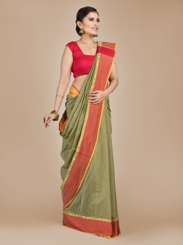 Light Olive Green Blended Cotton Hand woven saree with Ghicha pallu 0