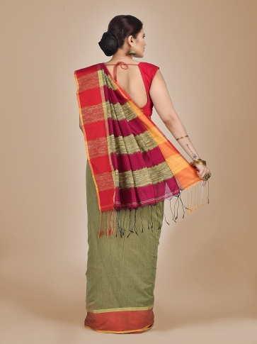 Light Olive Green Blended Cotton Hand woven saree with Ghicha pallu 1