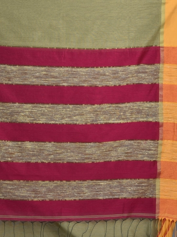 Light Olive Green Blended Cotton Hand woven saree with Ghicha pallu 2