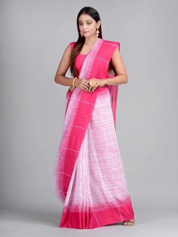 Off White & Pink Handwoven Cotton Saree 0