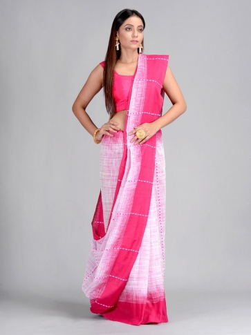 Off White & Pink Handwoven Cotton Saree 1