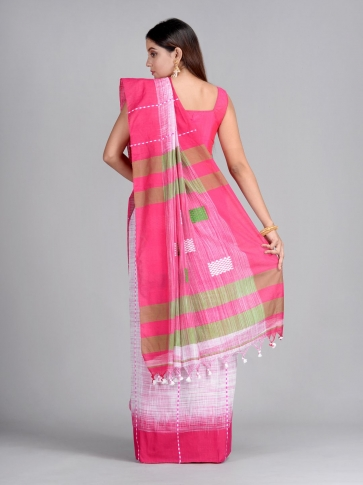 Off White & Pink Handwoven Cotton Saree 2