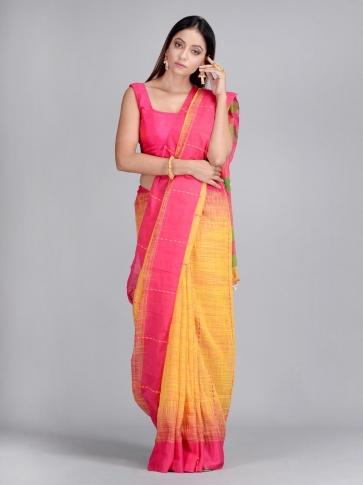 Yellow & Pink Handwoven Cotton Saree