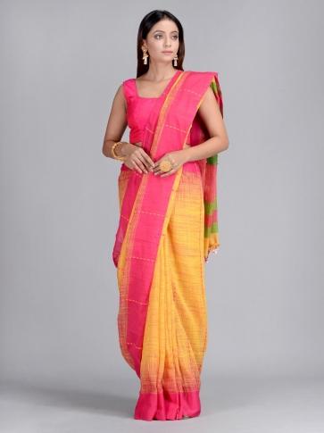 Yellow & Pink Handwoven Cotton Saree 1