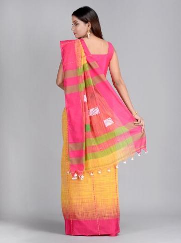 Yellow & Pink Handwoven Cotton Saree 2