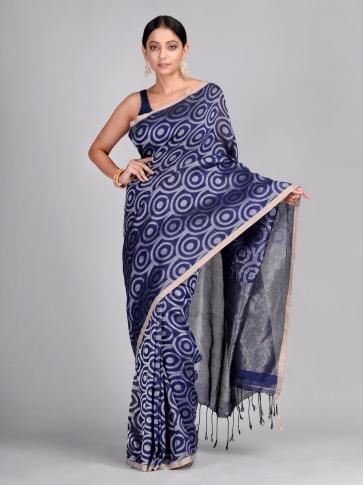 Blue Hand Woven Cotton Linen Designer Saree