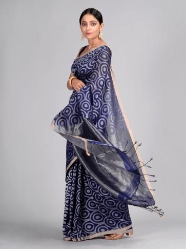Blue Hand Woven Cotton Linen Designer Saree 1