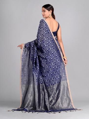 Blue Hand Woven Cotton Linen Designer Saree 2