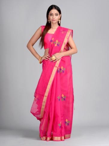 Pink Silk Cotton Hand Woven Designer Saree
