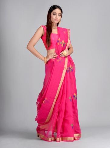Pink Silk Cotton Hand Woven Designer Saree 0