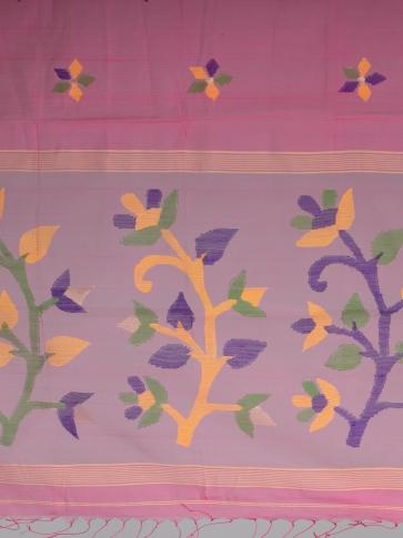 Pink Silk Cotton Hand Woven Designer Saree 2