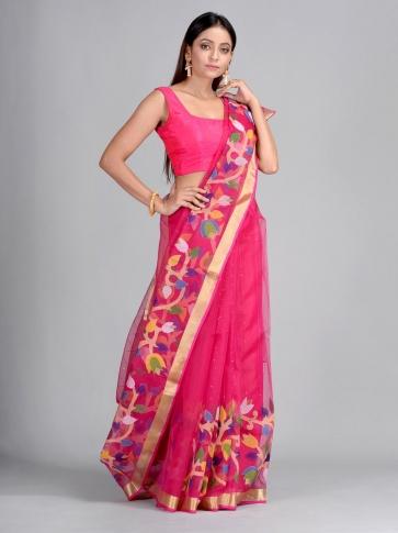 Pink Silk Cotton Hand Woven Saree with Jamdani work in pallu 0