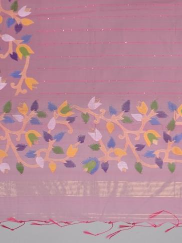 Pink Silk Cotton Hand Woven Saree with Jamdani work in pallu 2