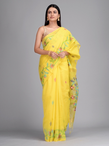 Yellow Silk Cotton Hand Woven Saree with Jamdani work in pallu