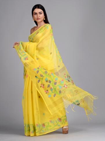 Yellow Silk Cotton Hand Woven Saree with Jamdani work in pallu 0