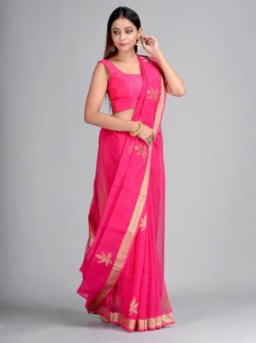 Pink Silk Cotton Hand Woven Saree with Jamdani work in pallu