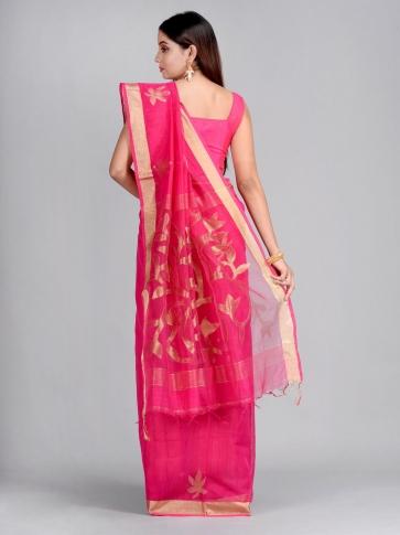 Pink Silk Cotton Hand Woven Saree with Jamdani work in pallu 1