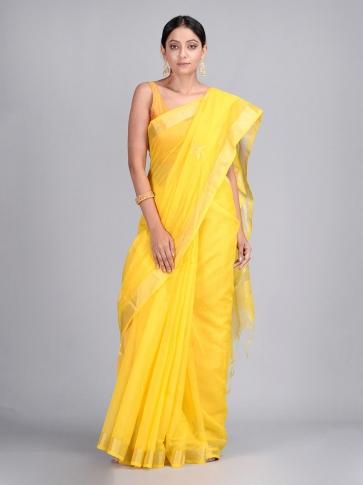 Yellow Silk Cotton Hand Woven Saree
