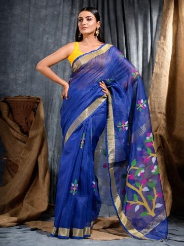Blue Silk Linen handwoven saree with Jamdani work in pallu