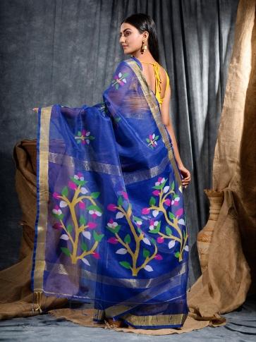 Blue Silk Linen handwoven saree with Jamdani work in pallu 2