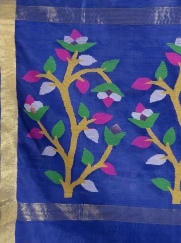 Blue Silk Linen handwoven saree with Jamdani work in pallu 1