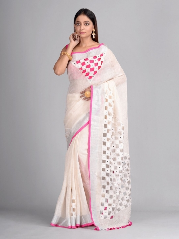 White Linen Hand Woven Saree with cut work