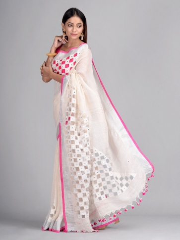 White Linen Hand Woven Saree with cut work 1