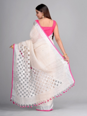 White Linen Hand Woven Saree with cut work 2