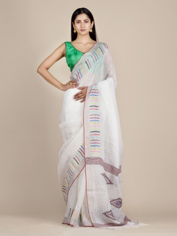 White Soft Linen Saree With Striped Borders