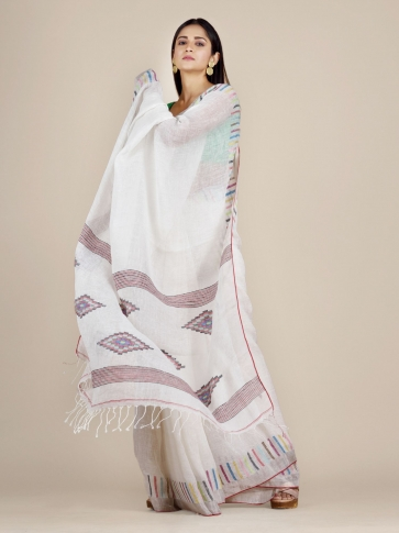 White Soft Linen Saree With Striped Borders 0