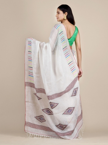 White Soft Linen Saree With Striped Borders 1