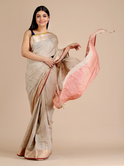 Ivory White Hand woven Tusser Saree with tested Zari