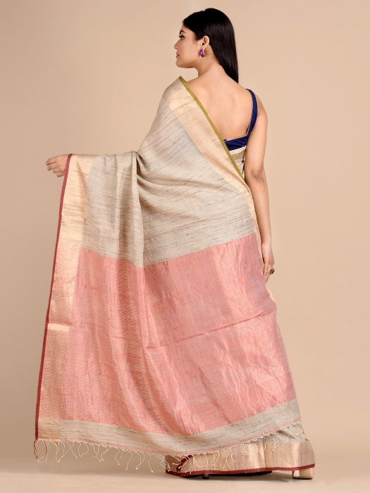 Ivory White Hand woven Tusser Saree with tested Zari 1