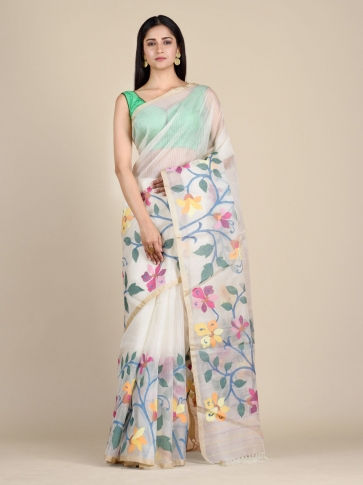 Off White Muslin Saree With Floral Designs