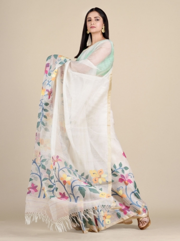 Off White Muslin Saree With Floral Designs 0