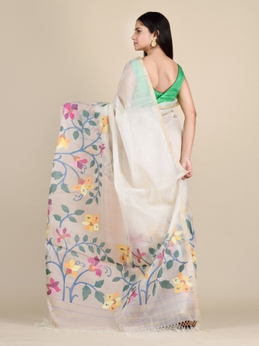 Off White Muslin Saree With Floral Designs 1
