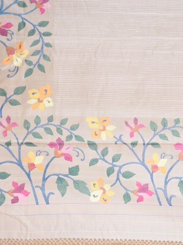 Off White Muslin Saree With Floral Designs 2