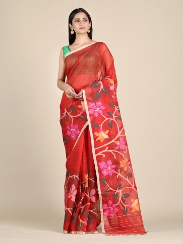 Crimson Red Muslin Saree With Floral Designs