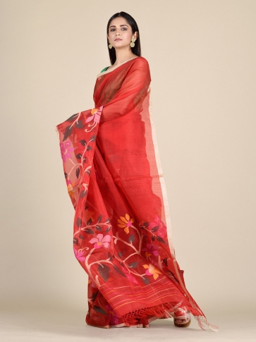 Crimson Red Muslin Saree With Floral Designs 0