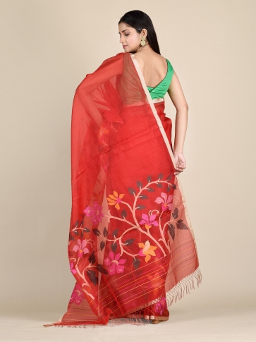 Crimson Red Muslin Saree With Floral Designs 1