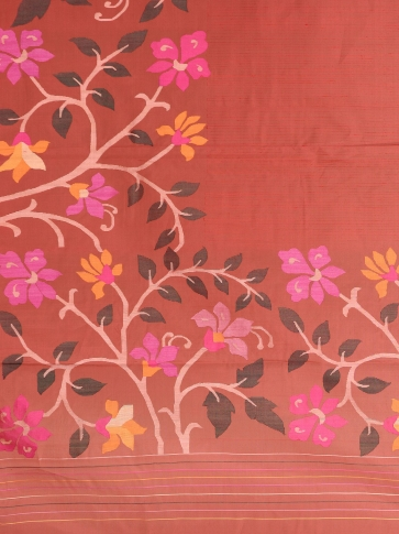Crimson Red Muslin Saree With Floral Designs 2