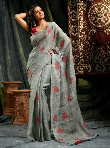 Textured Grey Linen Saree With Heart Motifs