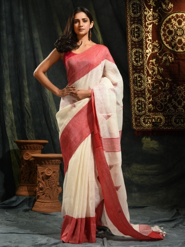Ivory White & Red Linen Saree With Woven Designs 0