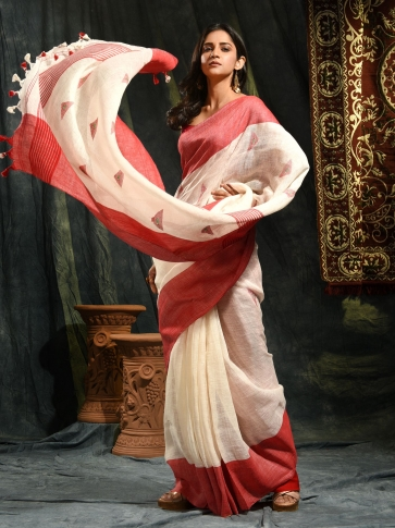 Ivory White & Red Linen Saree With Woven Designs