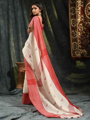Ivory White & Red Linen Saree With Woven Designs 1