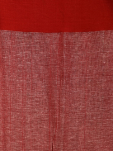 Ivory White & Red Linen Saree With Woven Designs 2